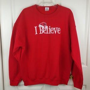 "Gildan Red ""I Believe"" Santa LS Sweatshirt L"